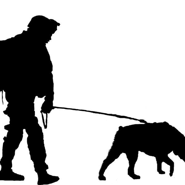 600x600 Canine Combat Team Rottweiler Silhouette Vinyl Sticker Decal