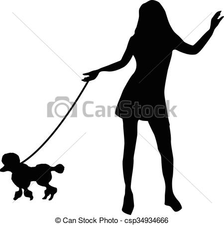 450x452 Silhouette Of A Girl And A Dog Clip Art Vector