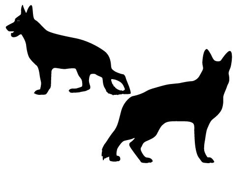 500x350 Two Large Sized German Shepard Dogs In Silhouette Vector Format