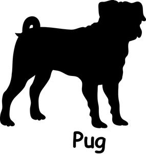 285x300 Free Pug Dog Clip Art Image Pug Dog Silhouette With The Word