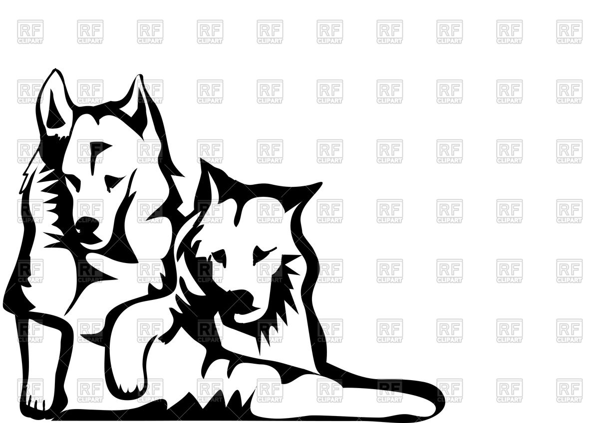 1200x849 Two Dogs Silhouette Royalty Free Vector Clip Art Image