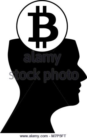296x470 Human Head Silhouette With Sign Of Bitcoin Above On Shiny Golden