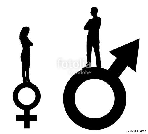 500x455 Vector Silhouette Of A Big Man And A Small Woman Standing