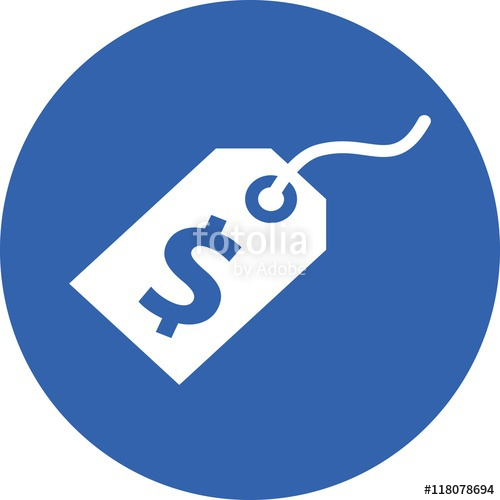 500x500 Dollar Label Price Tag Ecommerce Discount Icon Vector Sign Symbol