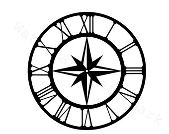 340x270 Compass Clock Etsy