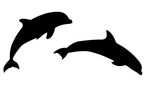 500x350 Two Beautiful Dolphin Silhouette Vector Sheer Joy Free Download