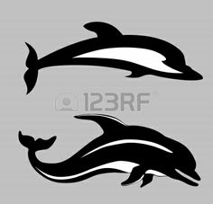 236x227 Dolphin And Shark Silhouettes Shark, Silhouettes And Animal