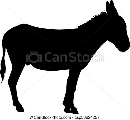 450x417 Black And White Vector Silhouette Of Donkey Clipart Vector