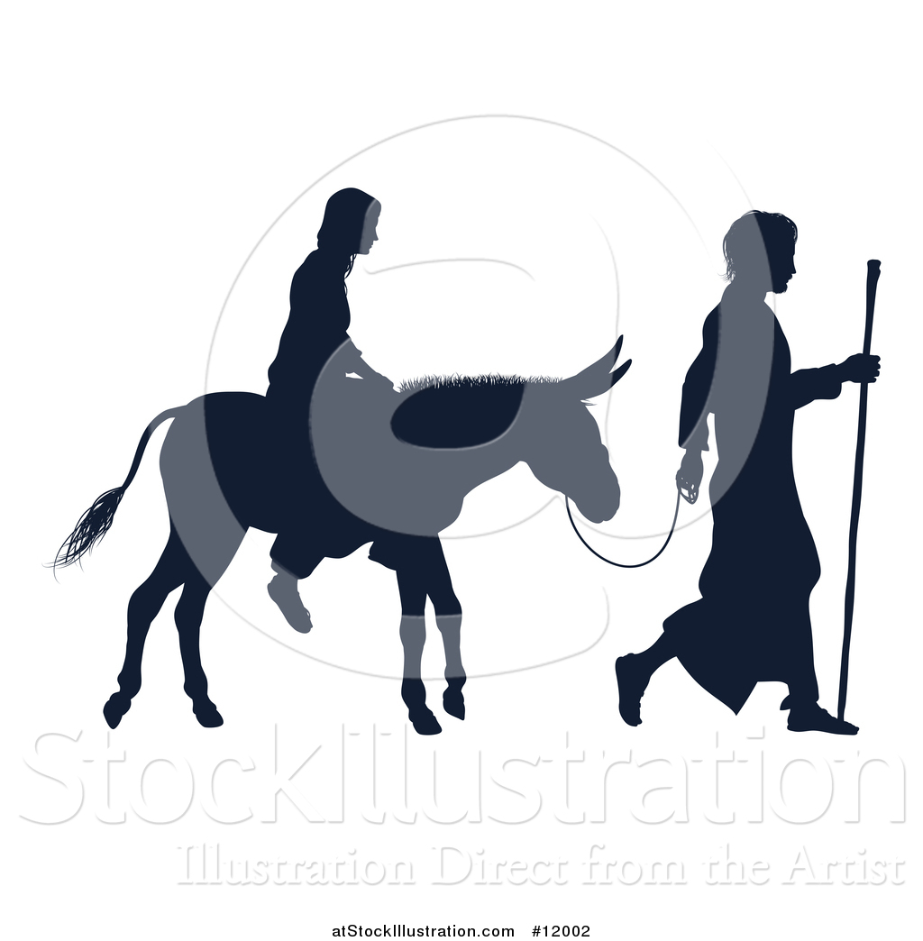 1024x1044 Vector Illustration Of A Silhouetted Virgin Mary On A Donkey