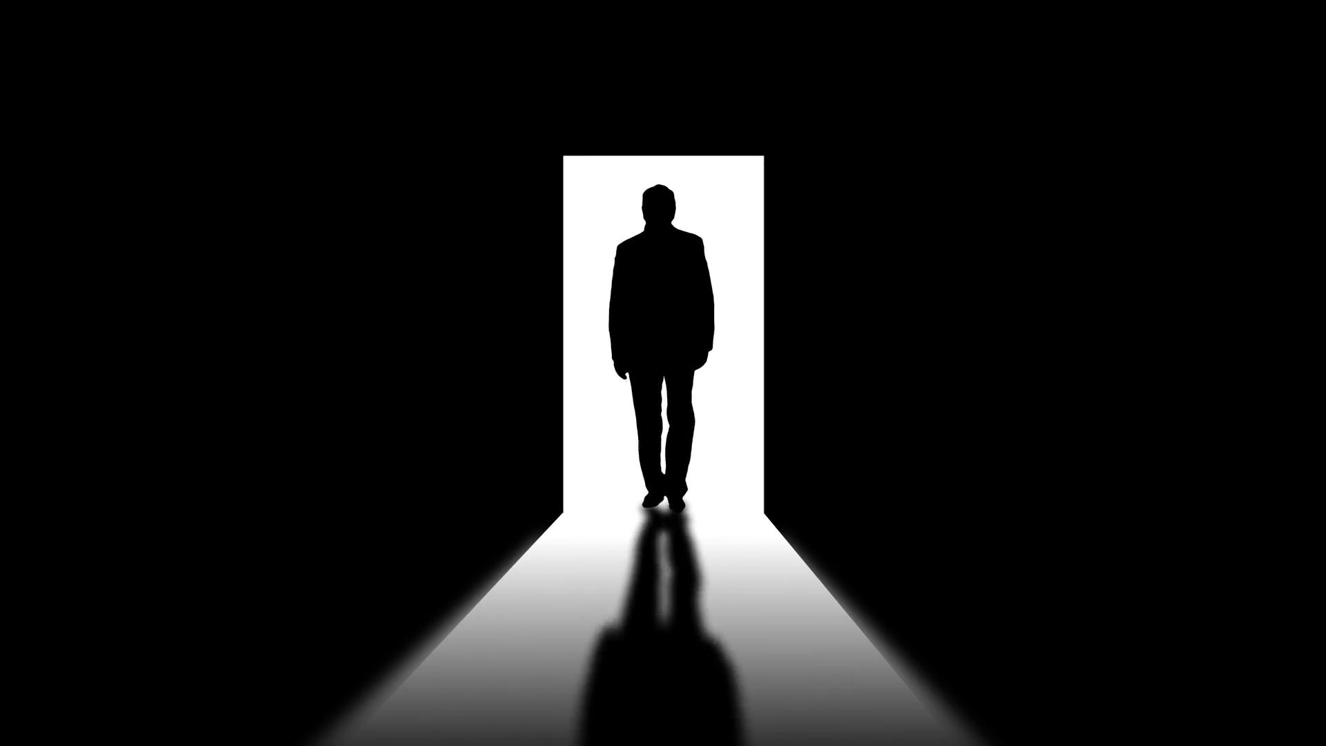 1920x1080 Male Silhouette In Opened Door. Silhouette Of Walking Men. Motion