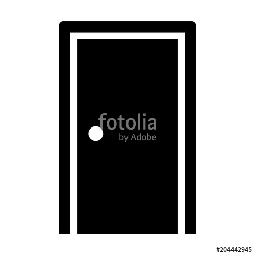 500x500 Simple Closed Door Icon. Black Silhouette. Isolated On White