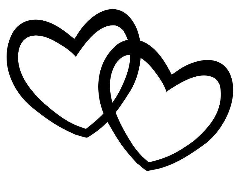 Double heart silhouette at free for for Double heart coloring pages