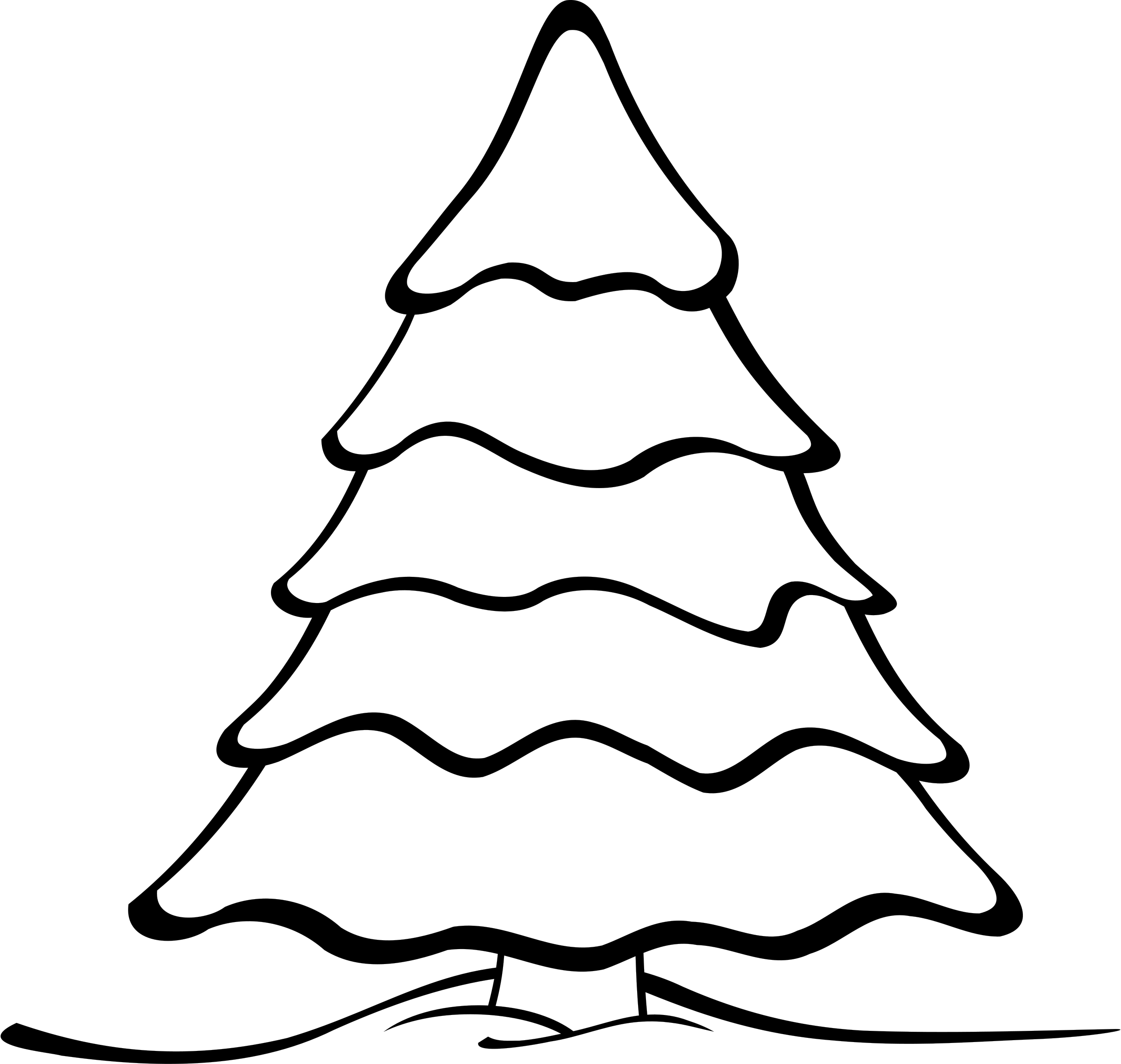 2400x2278 Christmas Tree Silhouette Clip Art