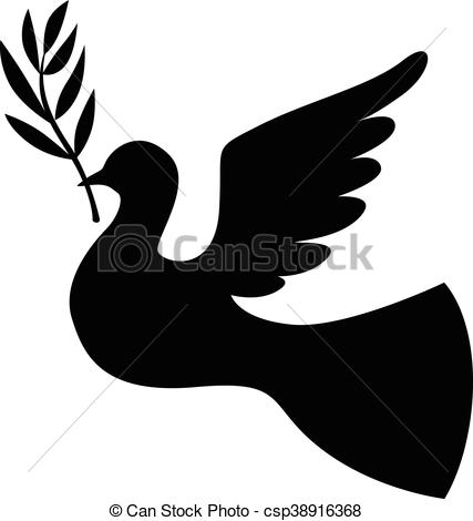 427x470 Silhouette Dove With Branch. Vector Illustrations Of Clip Art