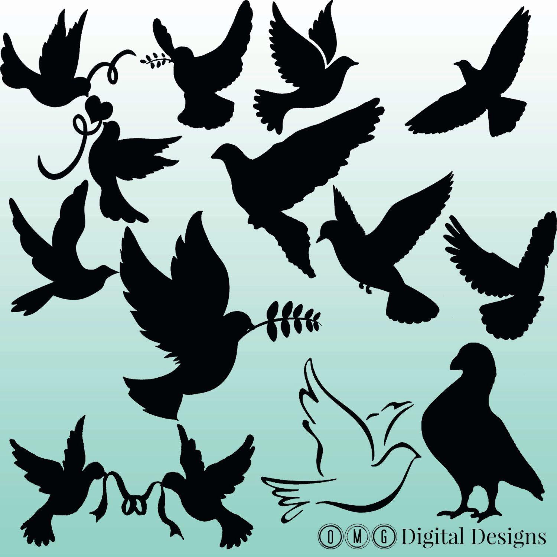 1500x1500 12 Dove Silhouette Digital Clipart Images, Clipart Design Elements