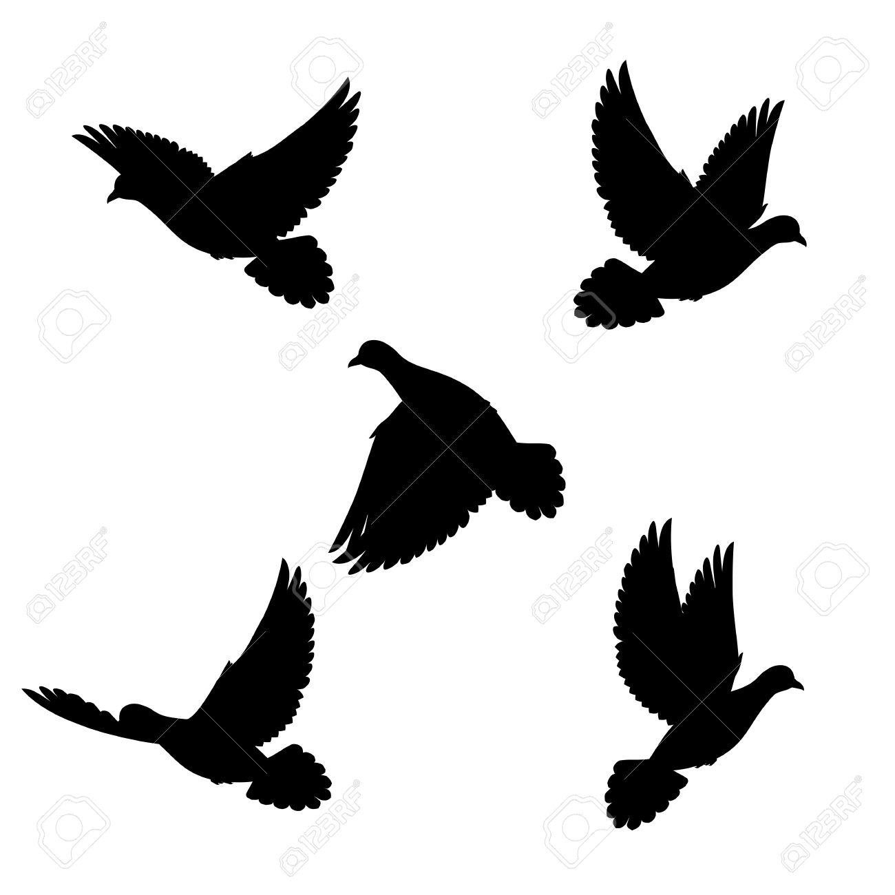 1300x1300 Drawn Dove Flight Silhouette