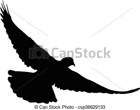 450x352 Dove Silhouette. Silhouette Of A Flying Dove On A White Vectors