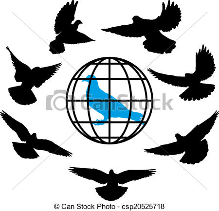 450x434 Doves Silhouette Against The Background Of Globe World Vector
