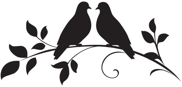 600x287 Love Doves Silhouette Png Clip Art Christmas Clip