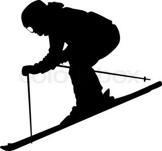 320x297 Mountain Skier Woman Speeding Down Slope. Vector Sport Silhouette