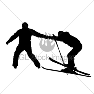 325x325 Skier Silhouette Isolated. Gl Stock Images