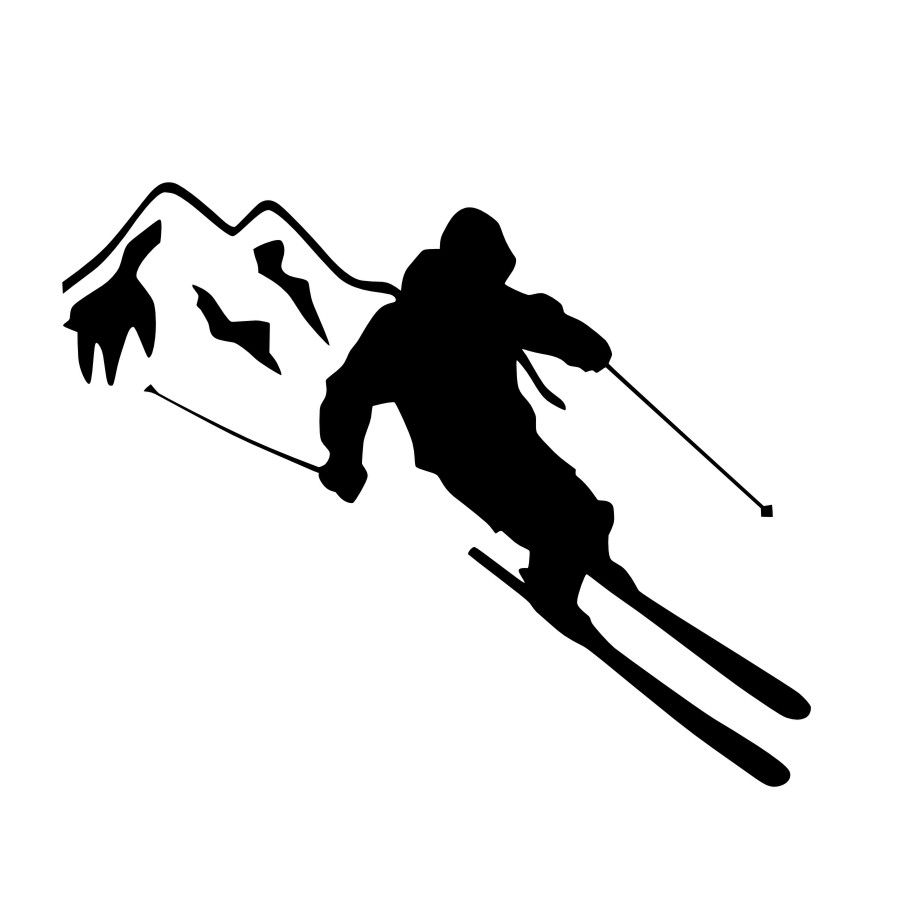 900x900 Dctop Extreme Sport Home Decor Skier Skiing Silhouette Wall