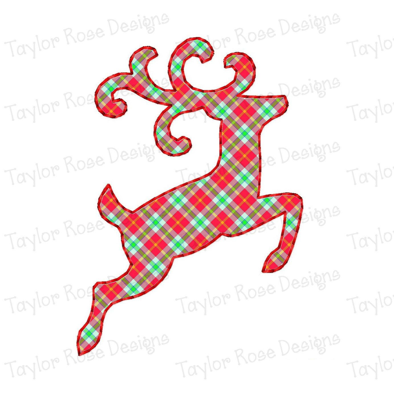 1382x1382 Reindeer Outline Silhouette Applique Machine Embroidery Design 4x4