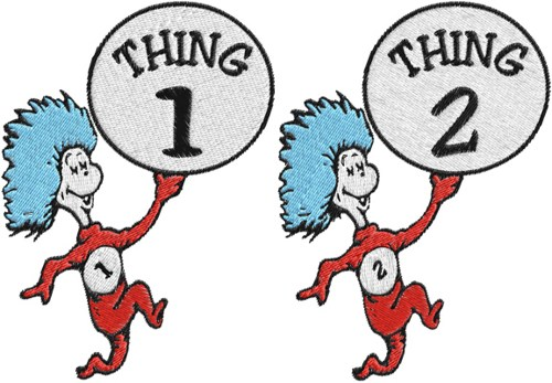 500x347 Dr.seuss,cat In Hat,thing 1,thing 2 Machine Embroidery Design