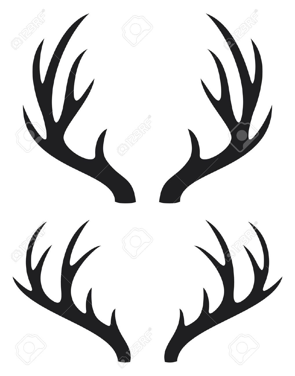 1019x1300 Silhouette Vector Deer Antler Clipart Panda Free Images Showy