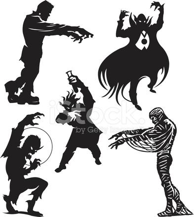 393x440 Halloween Monsters Frankenstein, Dracula, Werewolf, Mummy, Mad S