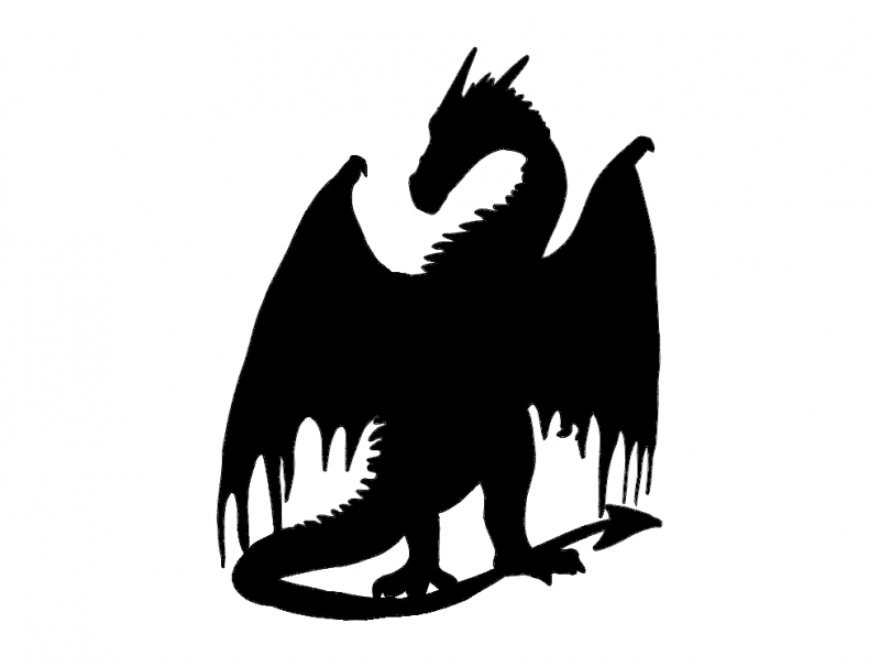 800x606 Dragon Silhouette Dxf File Free Download