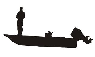 320x192 Fisherman On Boat Silhouette Decal Sticker