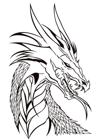 340x480 Dragon Head Coloring Page Free Printable Coloring Pages
