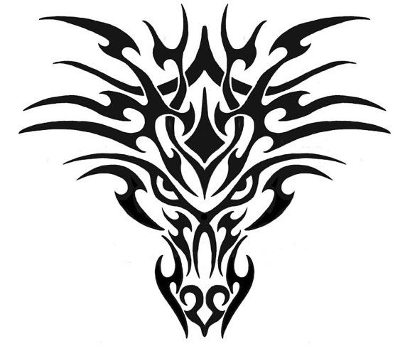 570x487 Silhouette Tribal Dragon Head Stencil For Fabric By Fromtheembers