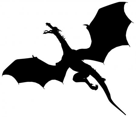 450x387 Standing Dragon Silhouette Clipart