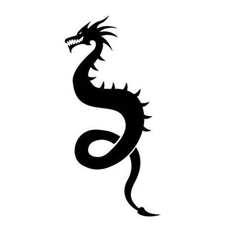 463x463 Ancient Dragon Silhouette Car Decal Sticker, Light