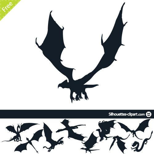 500x500 Dragons vector silhouettes silhouettes clipart Silhouettes