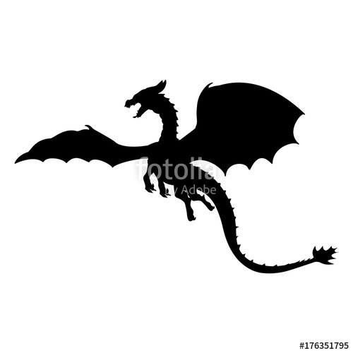 500x500 Dragon Fantastic Silhouette Symbol Mythology Fantasy. Stock Image