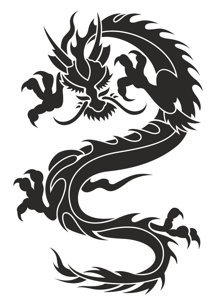 707x1000 Chinese Dragon Silhouette Tattoo Tribal Vector Coreldraw Vector