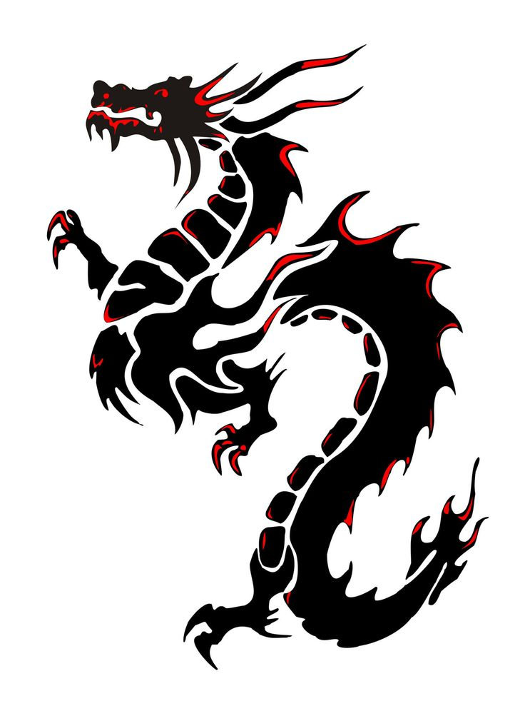 736x989 Silhouette of a black dragon on a white background