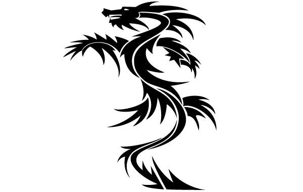 600x380 Simple Dragon Tattoo Vector