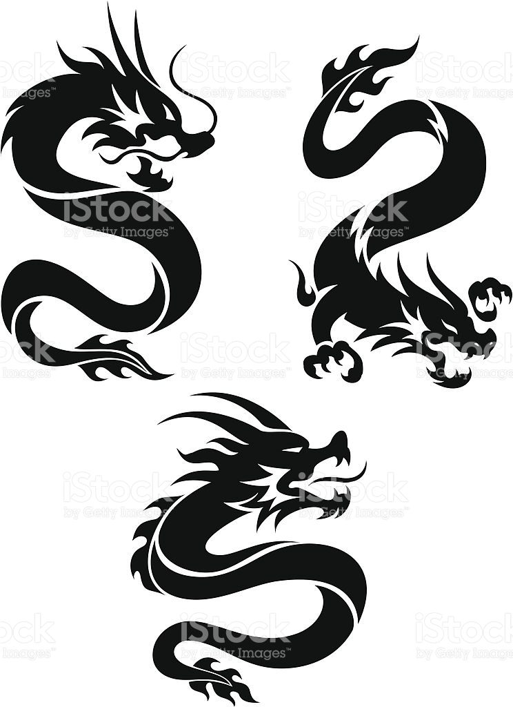 744x1024 Collection Of Chinese Dragon Tattoo Set