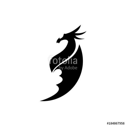 500x500 Black dragon silhouette vector illustration Stock image and