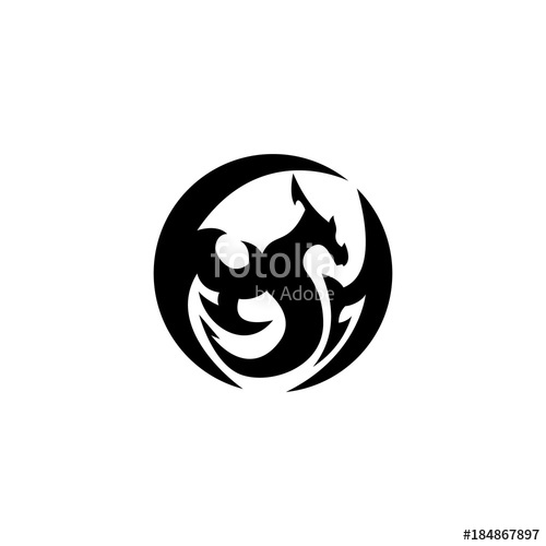 500x500 flying circle dragon silhouette vector illustration Stock image