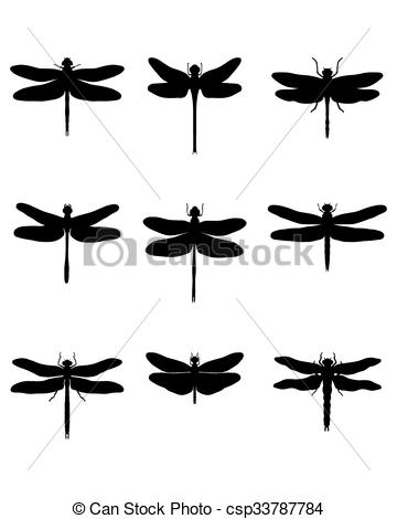 360x470 Black Silhouettes Of Dragonflies, Vector Vector