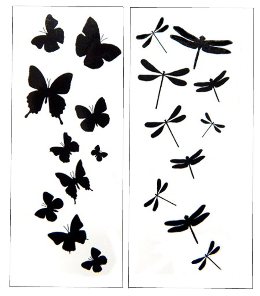 881x1000 Premium Dragonfly Amp Butterfly Black Silhouette Tattoo
