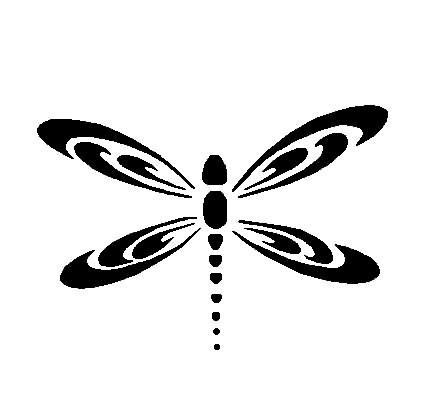 432x416 Black Silhouette Dragonfly Tattoo On Outer Arm