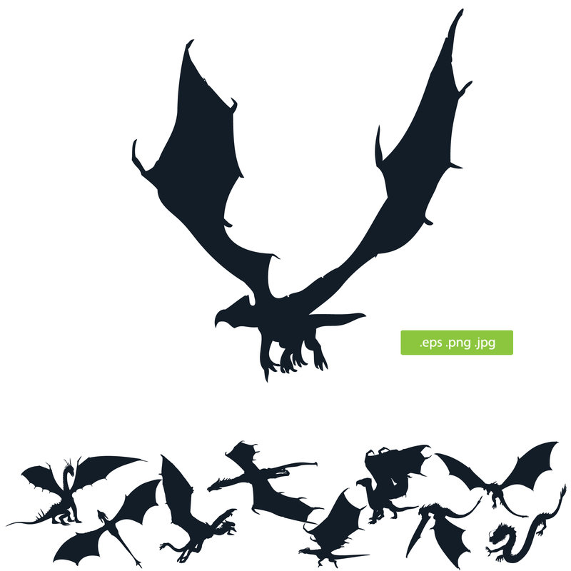 800x800 Dragon Vector Silhouette By Silhouettes Clipart