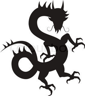 283x320 Cartoon Dragon, Silhouette Stock Vector Colourbox