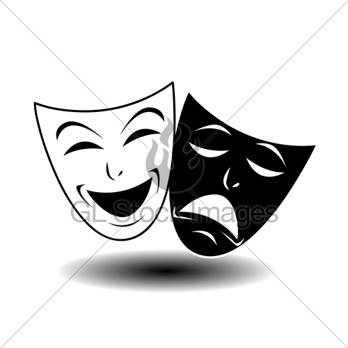500x500 Theater Icon With Happy And Sad Masks Gl Stock Images